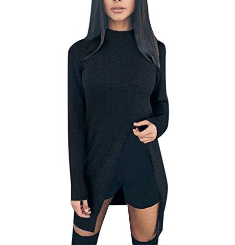 Women Sexy Turtleneck Long Sleeve Front Split Party Clubwear Tops Sweater Blouse Black S