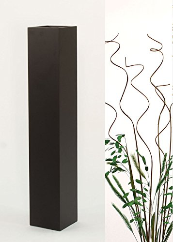 Green Floral Crafts Natural Branches in Slender Rectangle Black Floor Vase - 27 in.H x 5 in. Square