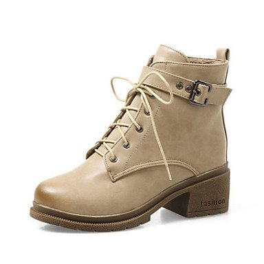 RTRY Women's Shoes PU Fall Winter Comfort Novelty Fashion Boots Bootie Boots Chunky Heel Round Toe Booties/Ankle Boots Lace-up For Office & US7.5 / EU38 / UK5.5 / CN38 XeyIAA