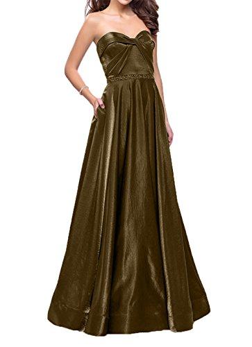 Festlichkleider Partykleider Abendkleider Traube Damen Lang Brautmutterkleider Satin Linie A Braun Charmant Herzausschnitt w0qgTU