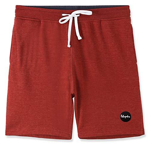 Estepoba Mens Casual Athletic Fit Comfort Soft Fleece Workout Gym Pockets Short H.Rusty/C.Blue L ()