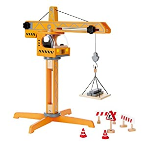 Hape Crane Lift Kid's Wooden Construction Toys Set