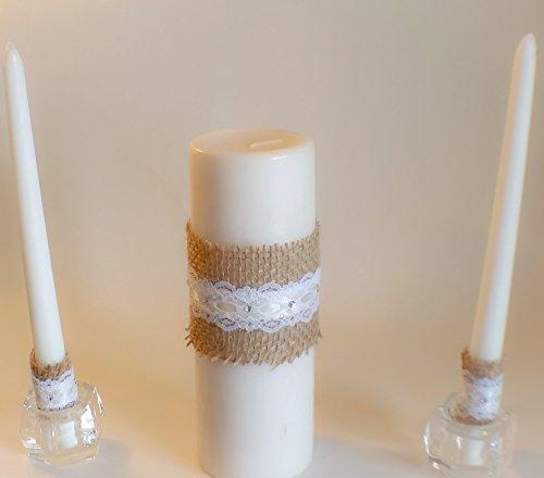 Wedding Rustic Unity White Pillar Candle Set, 3