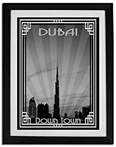 Dubai Skyline Down Town - Black And White With Silver Border F06-m (a2) - Framed