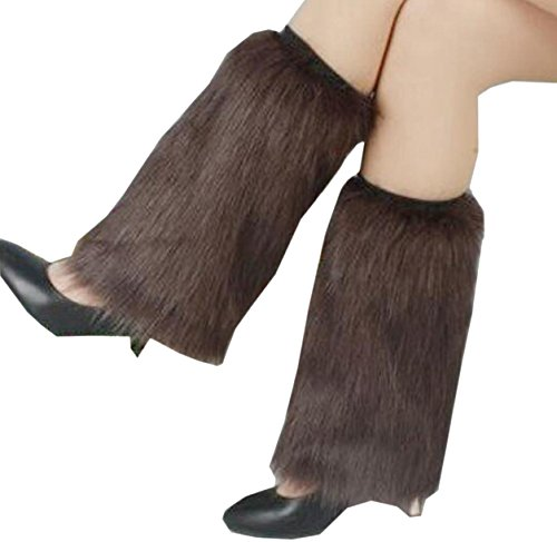 Ovetour Women's Cozy Winter Furry Faux Fur Leg Warmers Warm Boot Cuffs Cover -