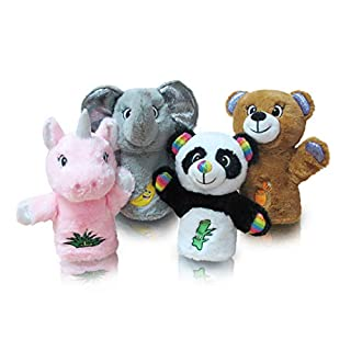 Plush Animal Hand Puppets Set for Kids Toddlers, 4-Piece Stuffed Animal Puppet for Parents Teachers Storytelling, Role Play and Interactive Teaching, for Ages 2+