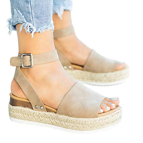 (Mafulus Womens Espadrilles Platform Sandals Wedge Ankle Strap Studded Open Toe Summer Sandals Taupe)