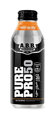 American Body Building Pure Pro 50, Chocolate Peanut Butter, 14.5-Ounce Bottles (Pack of 12)