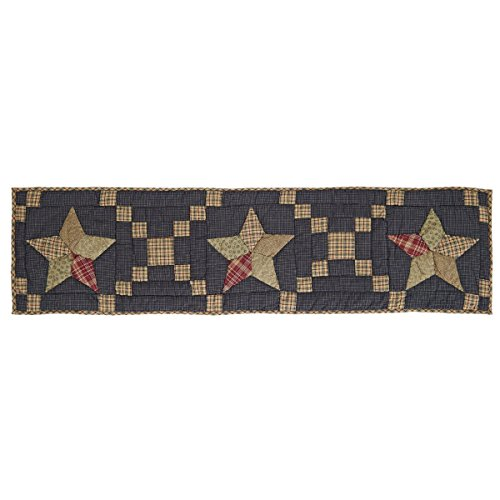 - VHC Brands Americana Classic Country Tabletop & Kitchen - Arlington Blue Patchwork Star Quilted Runner, 13