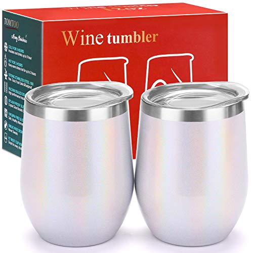TOMTOO Wine Tumbler With Lid - 12 oz Double Wall Vacuum Insulated Travel Tumbler Cup - 2 Pack Wine Glasses Perfect Father's Day Gifts (12 oz, K-Flash white 2pack) ()