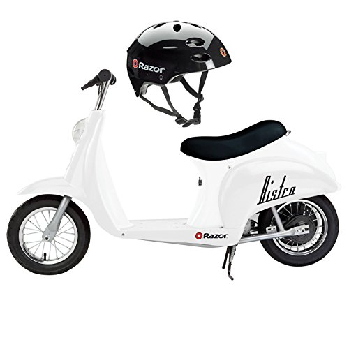 Price comparison product image Razor Pocket Mod Miniature Euro 24V / 250W Electric Retro Scooter,  White + Helmet