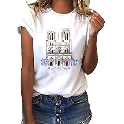 Sumen Women T Shirt Notre Dame de Paris Print Souvenir Short Sleeve Tees Tops White
