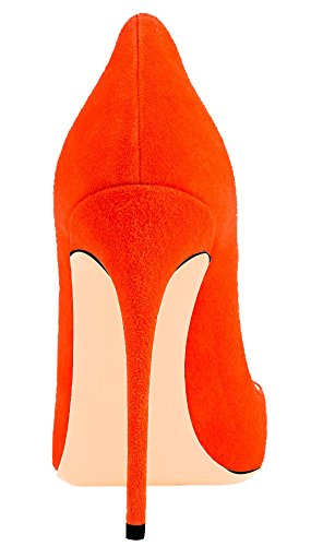 Solid AOOAR Suede High Shoes Heel Women's Orange Party Pumps OtB7tqwp