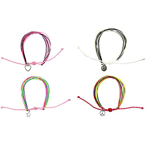 FROG SAC Friendship String Bracelets for Women Men Kids 4 PCs Pack - Handmade Braided Rope Bracelet Set with Silver Charms   Multilayer Waterproof Wax Cord - Adjustable Slip Knot - Great Party Favors