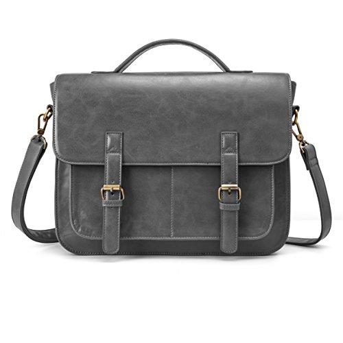 ECOSUSI 14 Inch Messenger Bag Vintage PU Leather Briefcase Computer Laptop Bag Satchel Shoulder Bag for Men and Women, Grey