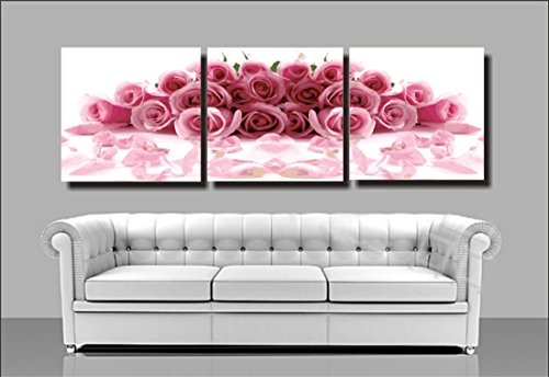 (YEESAM Art New Paint by Numbers for Adults 3 Piece Pack Panel - Pink Rose Flowers 16x16 inch Linen Canvas - DIY Painting Three Pieces Multipack Wall Art (with Frame))