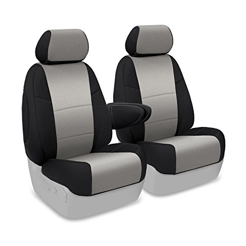 Coverking Custom Fit Front 50/50 Bucket Seat Cover for Select Lincoln Town Car Models - Neosupreme (Gray with Black Sides) ()