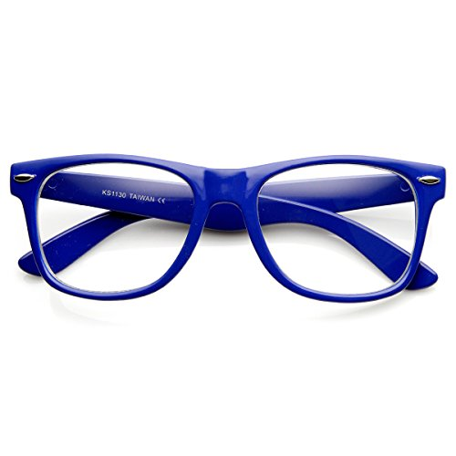 zeroUV - Retro Party Super Neon Color Horn Rimmed Style Eyeglasses Clear Lens Glasses (Blue)