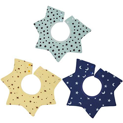 Ivysan Baby/Infant/Toddler Feeding Burp Cloths Bits for Boys and Girls,Unisex 360° Rotating Children Bandana Teething Drool Nursery Towel,3 Pack(Star)