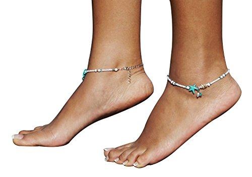 Bienvenu Boho Bridal Barefoot Sandals Anklets Multiple Layered Anklets 2 Pcs,Conch