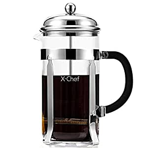 French Press, X-Chef 1000ml Heat Resistant Glass Coffee Press Tea Maker Pot with Stainless Steel Holder, Cozy & Funny for Coffee Lovers - 8 Cup/4 Mug (1 Liter, 34 oz)