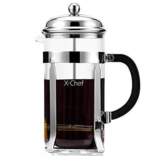 Discover Bargain French Press, X-Chef 1000ml Heat Resistant Glass Coffee Press Tea Maker Pot with St...