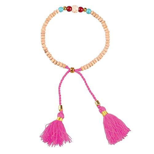 KELITCH Beige Wood Bead Friendship Bracelet with Pink Tassel Double Pendant