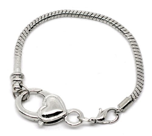 Lobster Clasp Charm Bracelet Silver Plated