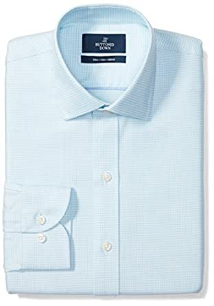 """Buttoned Down Men's Slim Fit Spread-Collar Pattern Non-Iron Dress Shirt, Aqua/Blue Houndstooth, 14.5"""" Neck 32"""" Sleeve"""
