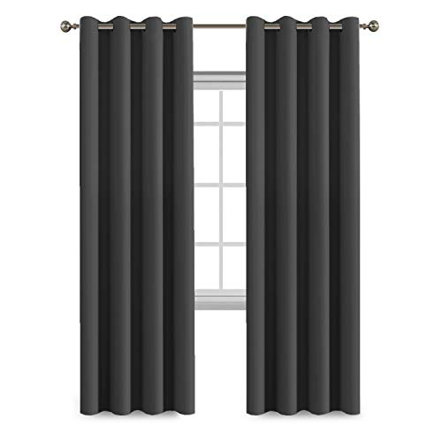 Flamingo P Blackout Curtain Panels Solid Thermal Insulated Window Treatment Draperies for Living Room/Patio Door, Grommet Room Darkening Curtains/Drapes for Bedroom (1 Pair, 52 by 96, Deep - Treatments Window Macys