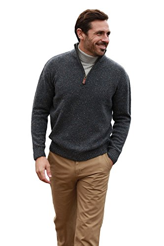Aran Woollen Mills Lambswool/Nylon Men's Troyer Half Zip Sweater,Graphite,Large ()