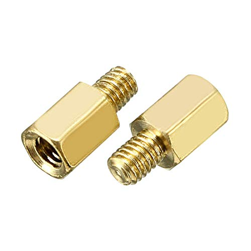 Lheng M3 8+6mm Female Male Thread Brass Hex Standoff Spacer Screws PCB Pillar 60Pcs