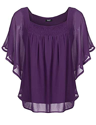 Zeagoo Women's Batwing Dolman Top with Shirred Sides,Purple,Small