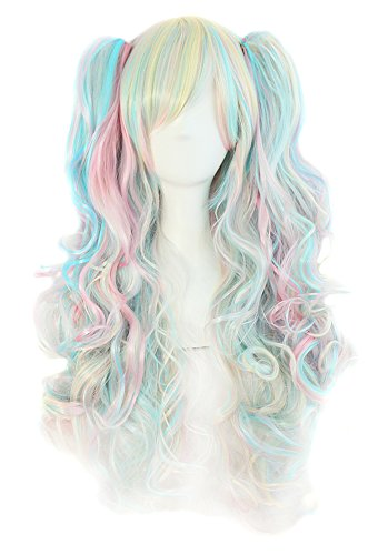 MapofBeauty Multi-color Lolita Long Curly Clip on Ponytails Cosplay Wig (Pink/ Blue/ Blonde) (Curly Blue Wig)