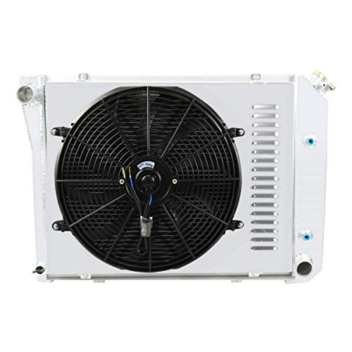 CoolingCare 3 Row Core Radiator +Shroud Fan +Relay Suit for 1969-74 Nova/Firebird, 1971-73 Camaro/Impala Caprice, Many GM Models
