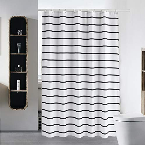 S·Lattye Simple Shower Curtain Liner Water Repellent Fabric Washable Cloth (Hotel Quality, Friendly, Heavy Weight Hem) with White Plastic Hooks - 72 x 78, Black and White Stripe