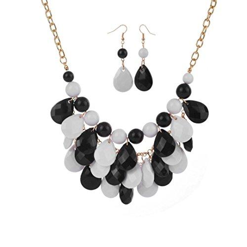 Vibola Women Fashion Crystal Necklace Jewelry Statement Pendant Charm Chain Choker (Cuff White Pendant)