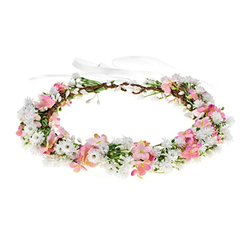 Floral Fall Artificial Baby Breath Flower Halo Wedding Crown Pink Bridal Headpiece Greenery Crown HC-24 (White Pink Flower)