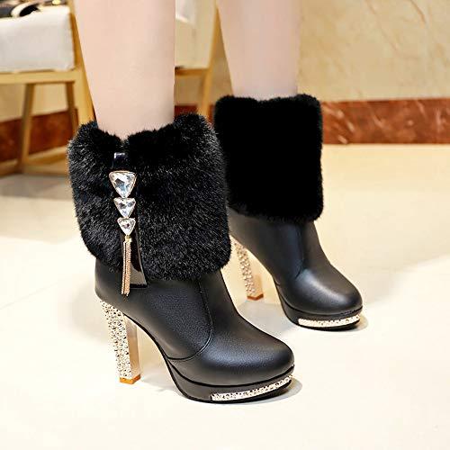 Stivale scarpe Invernali Scarpe Autunno con Nero  Tacchi Scarpa   Nero b53fa5