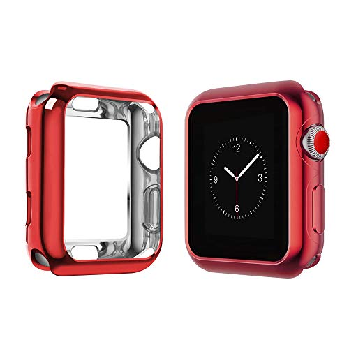 top4cus Scratch-Resistant Soft Flexible TPU Lightweight Protective Protector Bumper Compatible Apple Watch Case 44mm 42mm 40mm 38mm iwatch Series 4 Series 3 Series 2 Series 1 - Red, 42mm