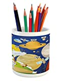 Ambesonne Educational Pencil Pen Holder, Cartoon Style Planet System and Astronaut in Outer Space Galactic Adventure, Printed Ceramic Pencil Pen Holder for Desk Office Accessory, Multicolor