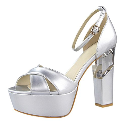 Platform Peep Silver Boucle Femmes Sandales Mariage D'Orsay HooH Toe 6Fq17AWOwv