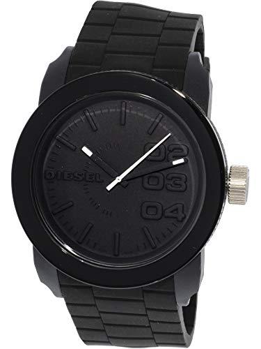 (Diesel Men's Double Down Quartz Stainless Steel and Silicone Casual Watch, Color: Black (Model: DZ1437))