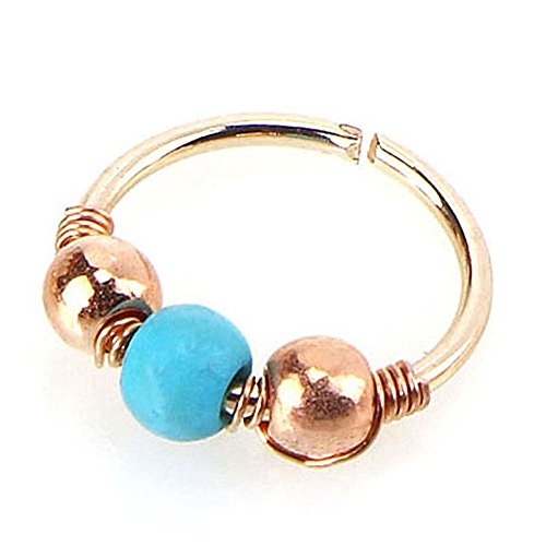 - Women Jewelry,Yanvan 1xStainless Steel Turquoise Nostril Hoop Nose Earring Piercing Jewelry 6mm 8mm 10mm