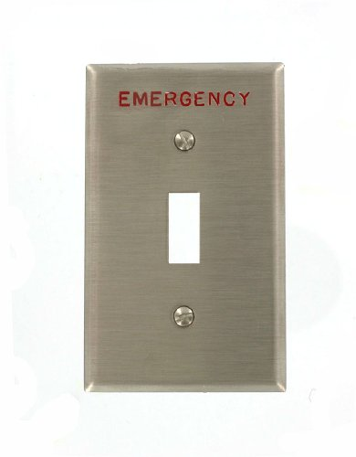 Engraved Toggle (Leviton 84001-E40 1-Gang Toggle Device Switch Wallplate, Device Mount, Engraved Emergency, Stainless Steel)