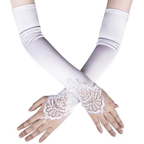 Xuhan 1920s Long Flapper Fingerless Evening Opera Satin Gloves for Women (White-1) ()