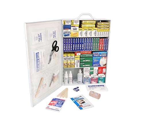 Rapid Care First Aid 80099 4 Shelf All Purpose First Aid Kit Cabinet, Class A+, Exceeds OSHA/ANSI Z308.1 2015, Wall Mountable, Over 1,500 Pieces from Rapid Care First Aid