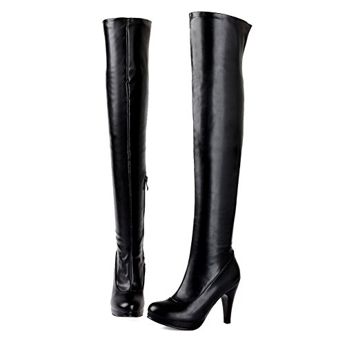 Allhqfashion Women's Closed Round Toe High-Heels Soft Material High-top Solid Boots Black cqNPur1