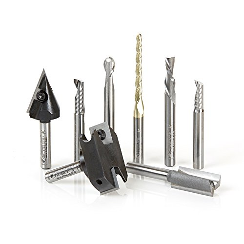 Amana Tool AMS-131 8-Pc CNC Signmaking Starter Router Bit Collection #II, 1/4 Inch Shank by Amana Tool