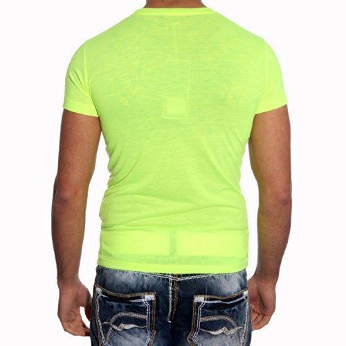 Herren Shirt Frau Grün Weiß Sexy Männer T-shirt Kurzarm Rundhals Flamme Avroni, Größe:S, Farbe:Grün